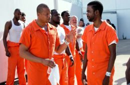 Empire: Terrence Howard (L) and Chris Rock shoot scenes at Cook Co. Juvenile Temporary Detention Center in Chicago