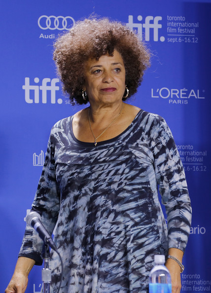 """Activist Angela Davis speaks onstage at """"Free Angela & All Political Prisoners"""" Press Conference during the 2012 Toronto International Film Festival at TIFF Bell Lightbox on September 10, 2012 in Toronto, Canada."""