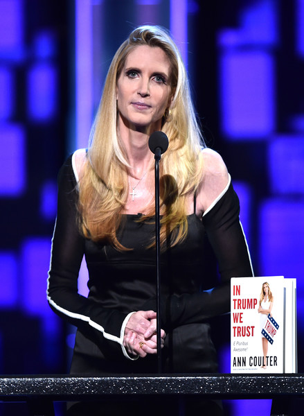 Political commentator/author Ann Coulter speaks onstage at The Comedy Central Roast of Rob Lowe at Sony Studios on August 27, 2016 in Los Angeles, California. The Comedy Central Roast of Rob Lowe will premiere on September 5, 2016 at 10:00 p.m. ET/PT.