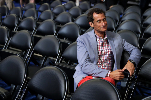 Former New York congressman Anthony Weiner attends the start of the second day of the Democratic National Convention at the Wells Fargo Center, July 26, 2016 in Philadelphia, Pennsylvania.