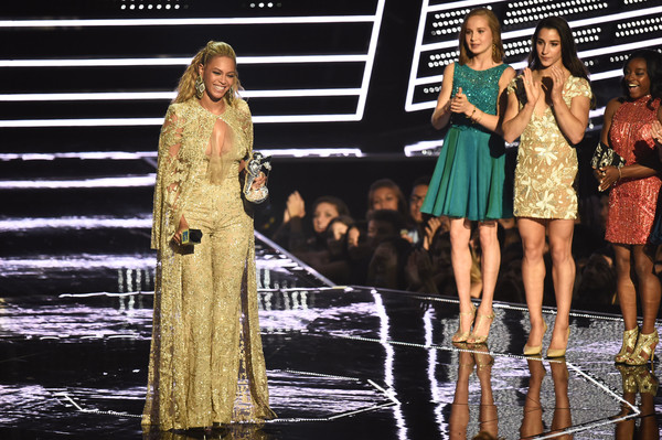 Beyonce accepts the Best Female Video award presented by Madison Kocian, Aly Raisman, and Simone Biles onstage during the 2016 MTV Video Music Awards at Madison Square Garden on August 28, 2016 in New York City.