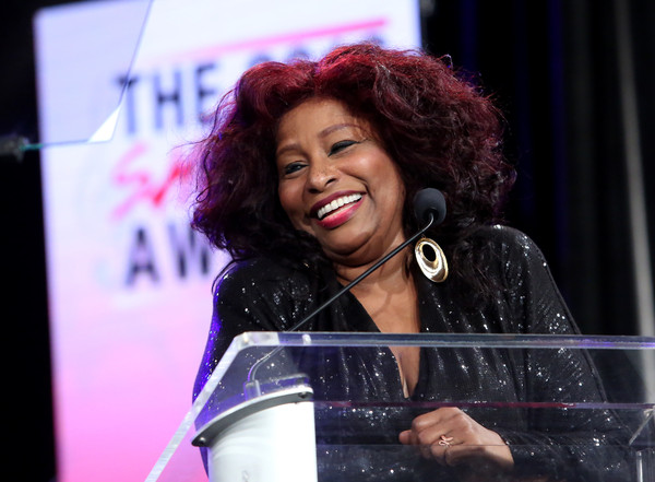 Singer Chaka Khan speaks on stage at the She Rocks Awards during day 2 of the 2016 NAMM Show at the Anaheim Hilton on January 22, 2016 in Anaheim, California.