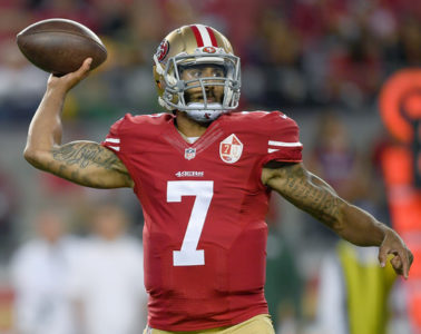 Quarterback Colin Kaepernick #7 of the San Francisco 49ers throws a pass against the Green Bay Packers in the first half of their preseason football game at Levi's Stadium on August 26, 2016 in Santa Clara, California.