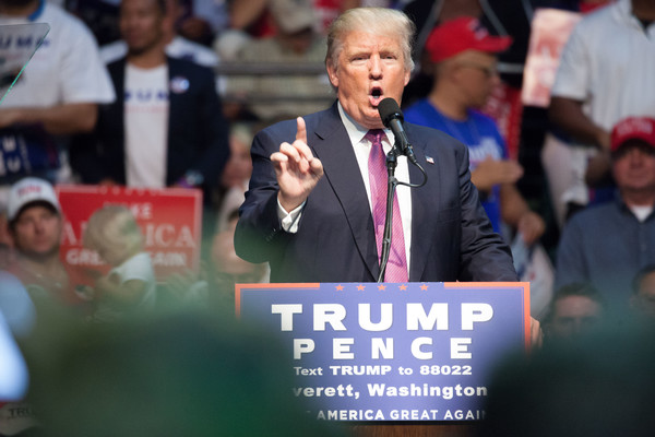 Republican presidential candidate Donald Trump speaks during a campaign rally on August 30, 2016 in Everett, Washington.