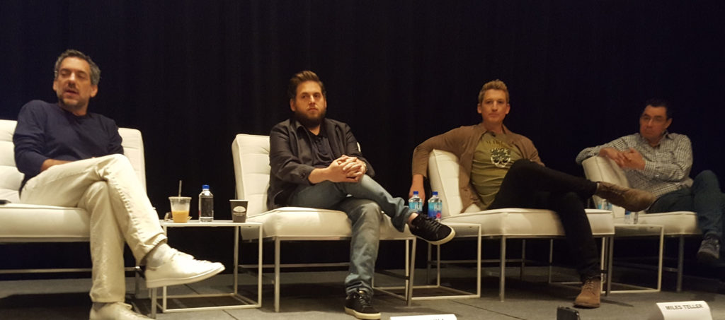 (L-r) Todd Phillips, Jonah Hill, Miles Teller, and Guy Larson at the Mandarin Oriental Hotel in NYC. (MMoore Photo)