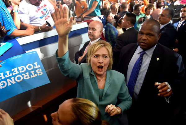 Democratic presidential nominee former Secretary of State Hillary Clinton waves to supporters after speaking at the International Brotherhood of Electrical Workers Union Hall on August 4, 2016 in Las Vegas, Nevada.