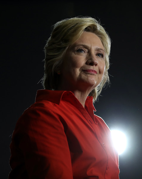 Democratic presidential nominee former Secretary of State Hillary Clinton looks on during a campaign rally with democratic vice presidential nominee U.S. Sen Tim Kaine (D-VA) at East High School on July 30, 2016 in Youngstown, Pennsylvania.