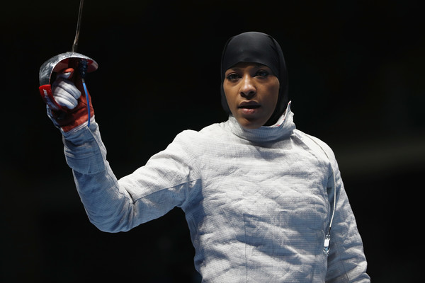 Ibtihaj Muhammad of the United States looks on during the Women's Individual Sabre on Day 3 of the Rio 2016 Olympic Games at Carioca Arena 3 on August 8, 2016 in Rio de Janeiro, Brazil.