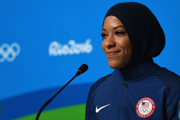 American Olympic fencer Ibtihaj Muhammad faces the media during a press conference on August 4, 2016 in Rio de Janeiro, Brazil.
