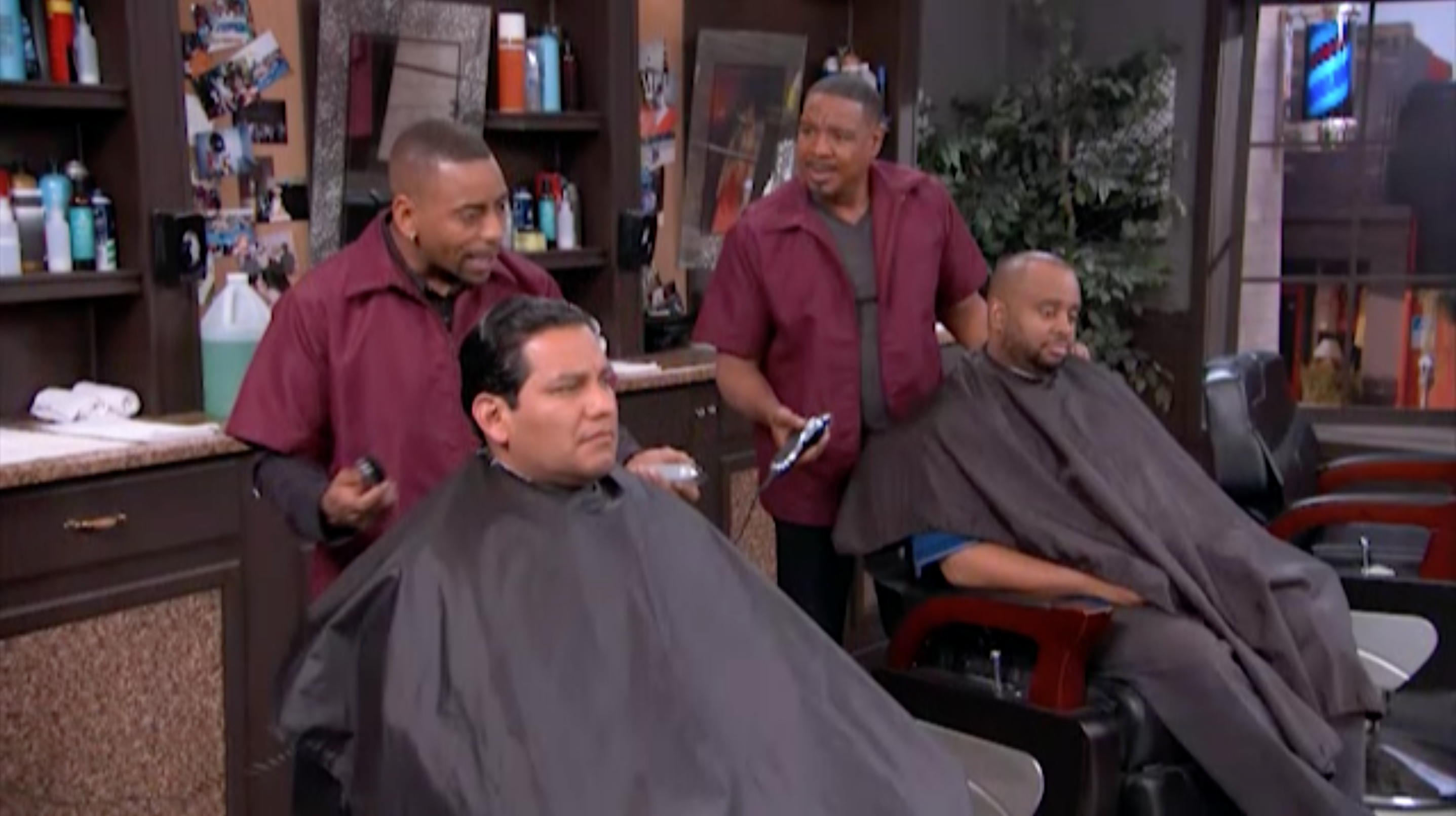 """(l-r) Ken Lawson and Dorien Wilson as father and son on Bounce TV's comedy """"In The Cut."""""""