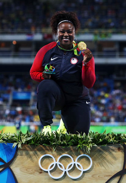 Gold medalist Michelle Carter of the United States celebrates on the podium during the medal ceremony for the Women's Shot Put.on Day 8 of the Rio 2016 Olympic Games at the Olympic Stadium on August 13, 2016 in Rio de Janeiro, Brazil.