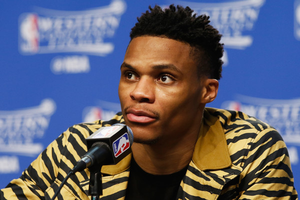 Russell Westbrook #0 of the Oklahoma City Thunder looks on during a press conference after the Golden State Warriors defeated the Oklahoma City Thunder 108-101 in game six of the Western Conference Finals during the 2016 NBA Playoffs at Chesapeake Energy Arena on May 28, 2016 in Oklahoma City, Oklahoma.