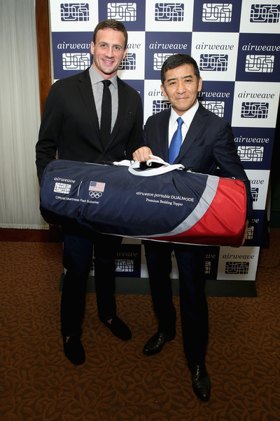 Olympic champion and airweave ambassador Ryan Lochte (L) and President and CEO of airweave, Motokuni Takaoka airweave celebrate airweave's anniversary and advanced bedding technology on March 10, 2016 in New York City.