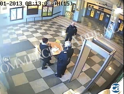 Northwest Prep Academy  security footage shows school officers Henry Todd and Richard Pinner with pregnant student moments before her violent arrest