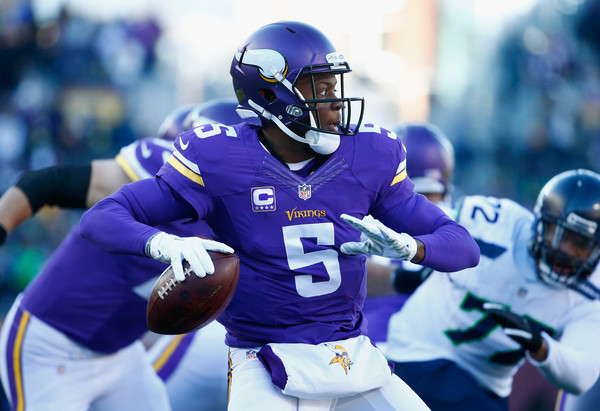 Teddy Bridgewater #5 of the Minnesota Vikings looks to pass in the first quarter against the Seattle Seahawks during the NFC Wild Card Playoff game at TCFBank Stadium on January 10, 2016 in Minneapolis, Minnesota.