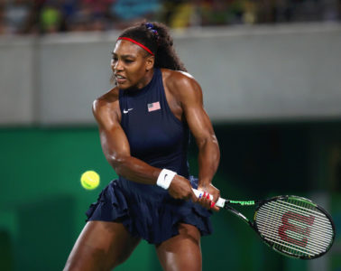 Serena Williams of the United States in action against Elina Svitolina of Ukraine during a Women's Singles Third Round match on Day 4 of the Rio 2016 Olympic Games at the Olympic Tennis Centre on August 9, 2016 in Rio de Janeiro, Brazil.