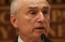 """New York City Police Commissioner William Bratton speaks at a news conference following a """"table-top"""" emergecny drill after attacks in the Belgium capital of Brussels last week on March 28, 2016 in New York City."""