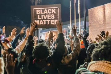 black lives matter - crowd & sign (ferguson)