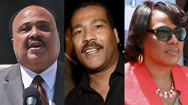 (L-R) Martin Luther King III, Dexter King and Bernice King