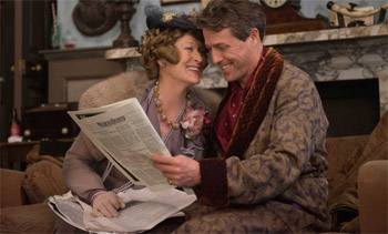 Florence Foster Jenkins (Meryl Streep) and St. Clair Bayfield (Hugh Grant) overjoyed with reviews.