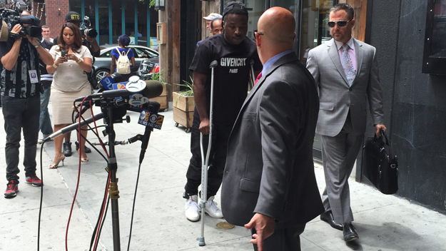 Rapper Troy Ave attends a press conference announcing a lawsuit against Irving Plaza (credit: Juliet Papa/1010 WINS)