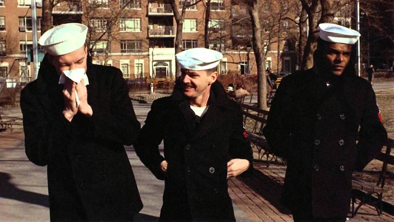 "(L-R) Randy Quaid, Jack Nicholson and Otis Young in 1973's ""The Last Detail"""