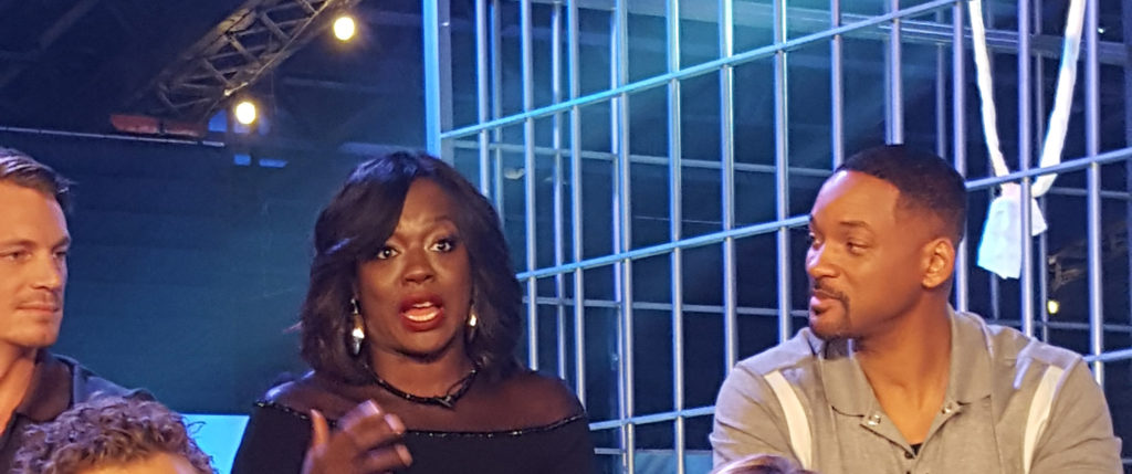 Viola Davis get animated while Will Smith (R) and Joel Kinnaman (L) look on. (MMoore Photo)