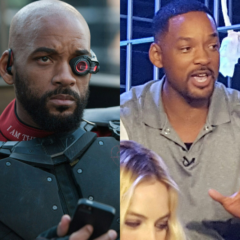 (Left) Will Smith as Deadshot (Clay Enos/ TM & (c) DC Comics) (Right) Will Smith at Skylight while Margot Robbie at bottom listens intently (MMoore Photo)