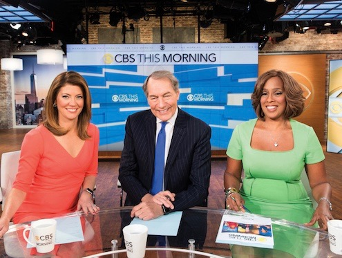 Norah O'Donnell, from left, Charlie Rose and Gayle King