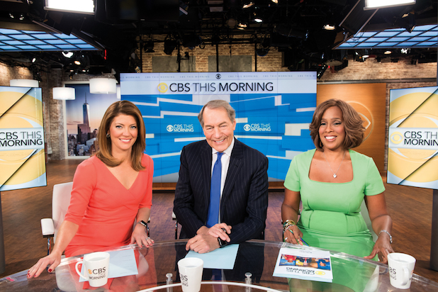 CBS This Morning Co-hosts Norah O'Donnell, from left, Charlie Rose and Gayle King on Thursday, Sept. 17, 2015. Photo: John Paul Filo/CBS ©2015 CBS Broadcasting Inc. All Rights Reserved.