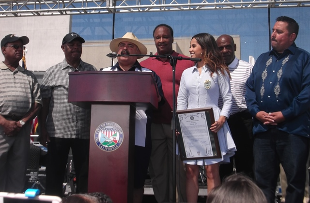 Inglewood Town Officials with Becky G: Photo Credit, Ricky Richardson