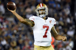 Colin Kaepernick #7 of the San Francisco 49ers makes a pass on the run during a preseason game against the San Diego Chargers at Qualcomm Stadium on September 1, 2016 in San Diego, California.