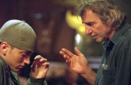 "Eminem and Curtis Hanson on the set of ""8 Mile"""