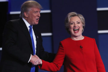 (L-R) Republican presidential nominee Donald Trump and Democratic presidential nominee Hillary Clinton shake hands after the Presidential Debate at Hofstra University on September 26, 2016 in Hempstead, New York.