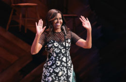 U.S. First Lady Michelle Obama greets fellow first ladies, students and guests at Broadway's Jacobs Theater on September 19, 2016 in New York City.