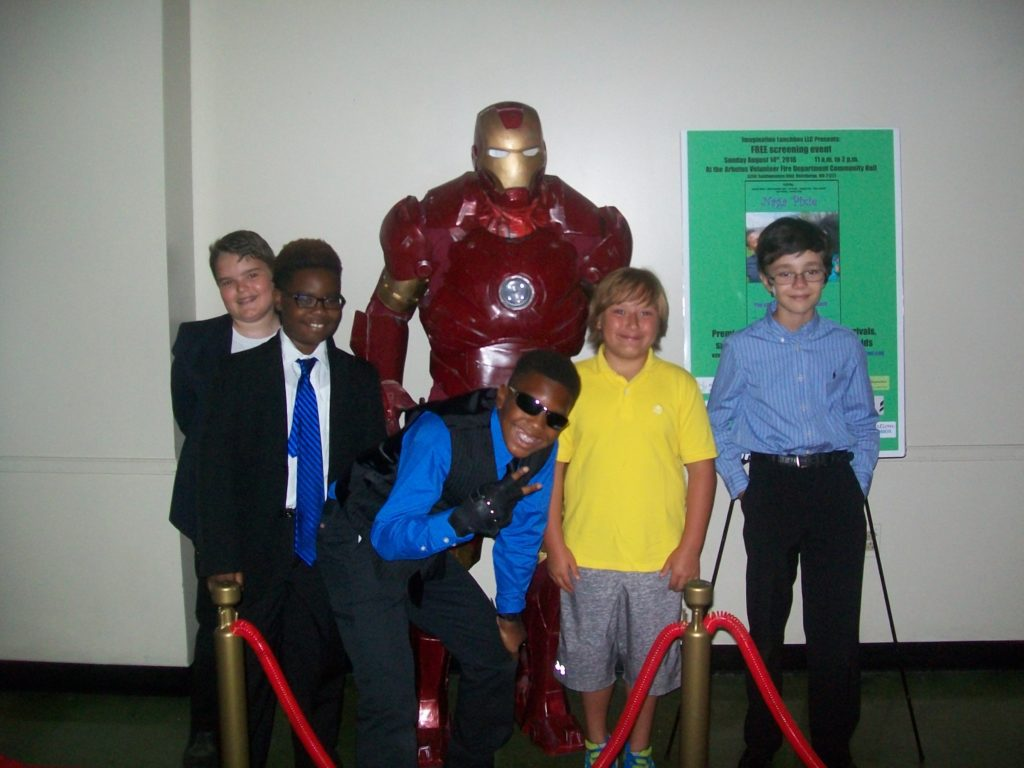 Anthony Michael Hobbs (center) with casts of his 2nd film Naga Pixie at red carpeted screening in Maryland with Iron Man.