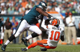 Fletcher Cox #91 of the Philadelphia Eagles sacks quarterback Robert Griffin III #10 of the Cleveland Browns during the third quarter at Lincoln Financial Field on September 11, 2016 in Philadelphia, Pennsylvania. The Eagles defeated the Browns 29-10.