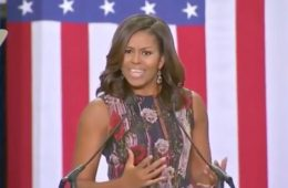 Michelle Obama rallies for Democratic presidential nominee Hillary Clinton at George Mason University in Fairfax, VA (Sept. 16, 2016)