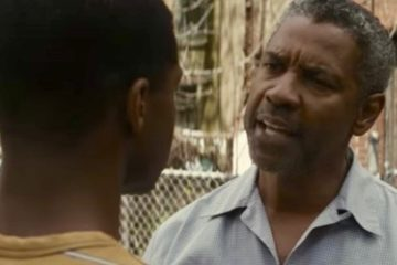 "Jovan Adepo (L) and Denzel Washington in ""Fences"""