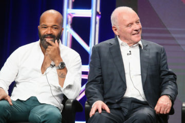 Jeffrey Wright and Sir Anthony Hopkins speak onstage during the 'Westworld' panel discussion at the HBO portion of the 2016 Television Critics Association Summer Tour at The Beverly Hilton Hotel on July 30, 2016 in Beverly Hills, California. (July 29, 2016 - Source: Frederick M. Brown/Getty Images North America)
