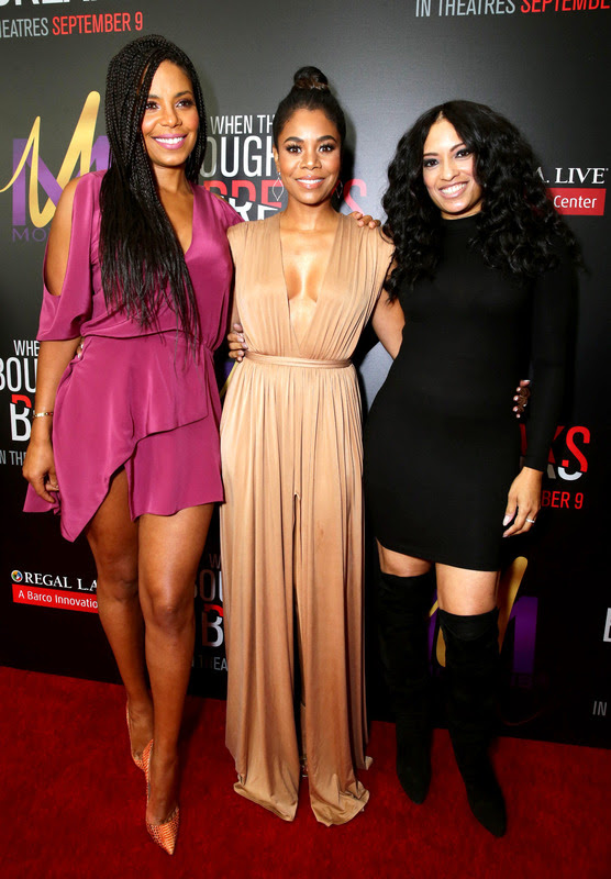 """Sanaa Lathan, from left, Regina Hall, and Melissa De Sousa attend the Screen Gems premiere of """"When the Bough Breaks"""" at Regal Cinemas L.A. Live on Sunday, August 28, 2016, in Los Angeles."""
