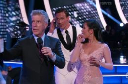 (L-R): Tom Bergeron, Ryan Lochte and Cheryl Burke