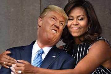 michelle obama-hugs-geo bush-with-donald trump-face
