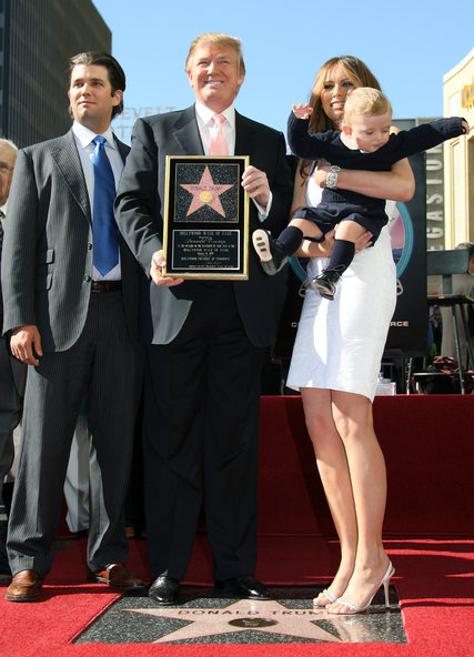 Donald J. Trump in 2007 when his star on the Hollywood Walk of Fame was unveiled, with his wife Melania and sons Donald Jr. (left) and Barron.