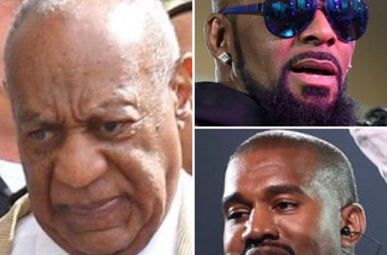 Bill Cosby (L), R. Kelly (Top) and Kanye West