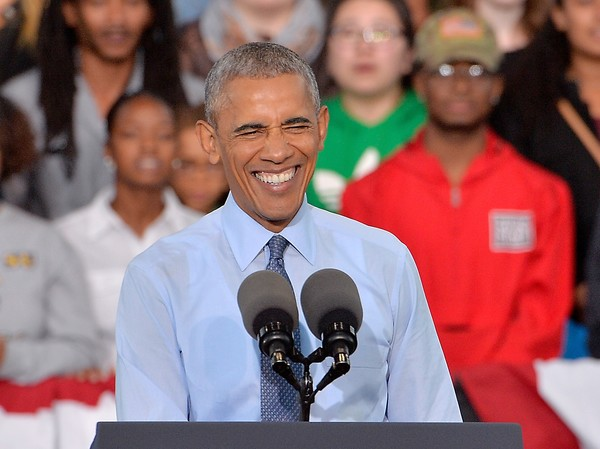 U.S. President Barack Obama smiles during a campaign event for Democratic presidential nominee Hillary Clinton on October 11, 2016 in Greensboro, North Carolina.