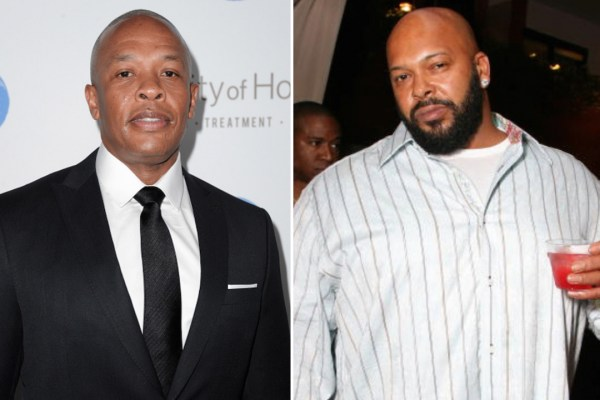 Dr. Dre (L) and Suge Knight
