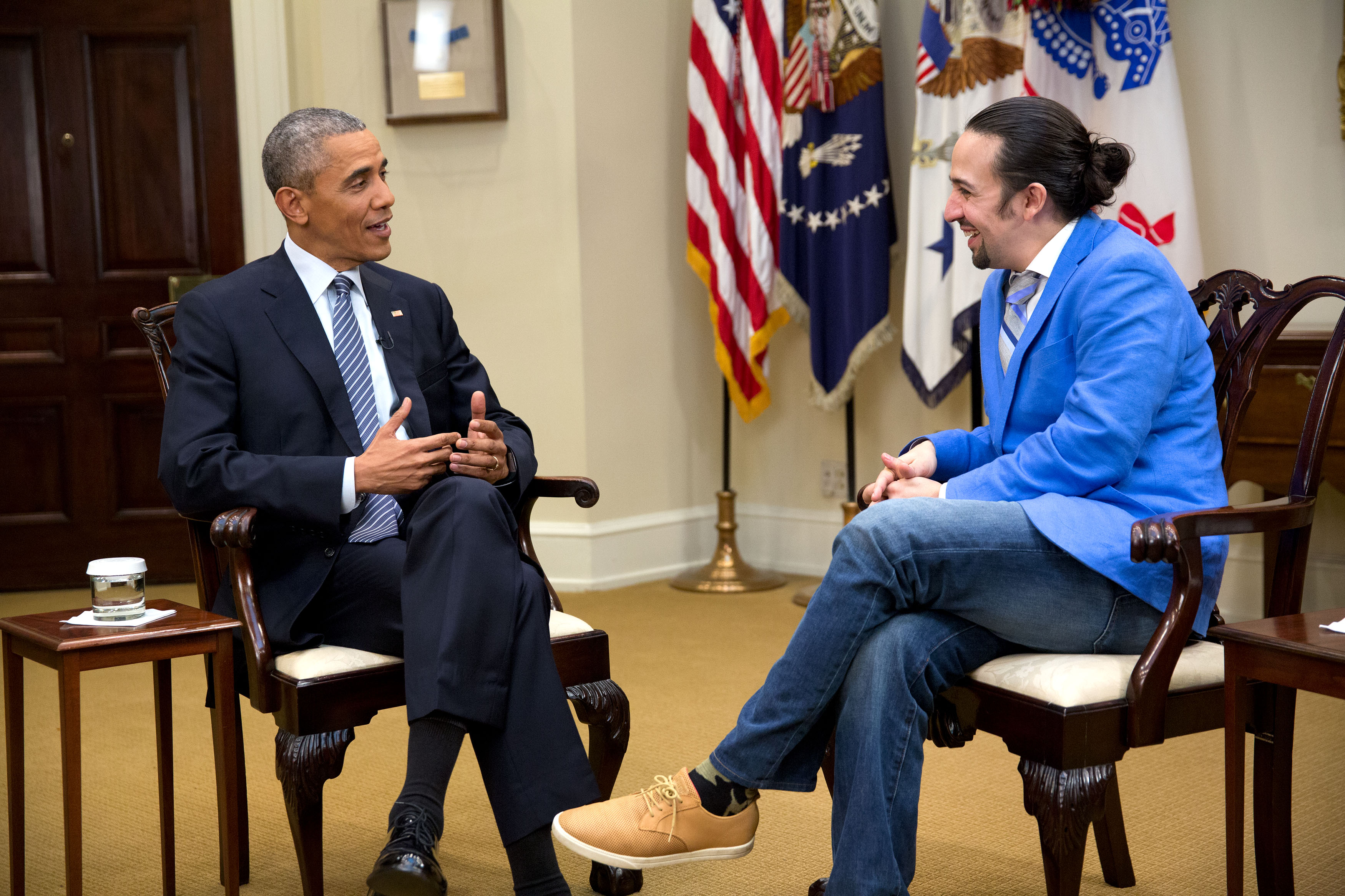 President Barack Obama and Lin-Manuel Miranda in the West Wing of the White House