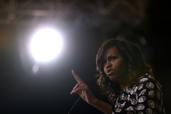 First Lady Michelle Obama speaks during a campaign rally with democratic presidential nominee former Secretary of State Hillary Clinton at Wake Forest University on October 27, 2016 in Winston-Salem, North Carolina
