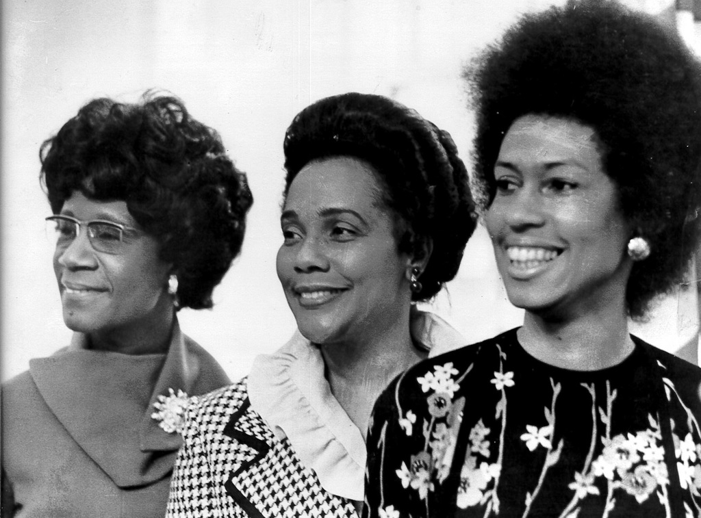 Eleanor Holmes Norton, right, with Coretta Scott King, center, and Rep. Shirley Chisholm from Norton's swearing-in ceremony to become chairwoman of the NYC Commission on Human Rights in 1974, a few years after the Newsweek case. (Courtesy Rep. Eleanor Holmes Norton's office)